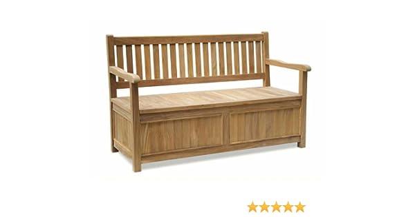 Premium Teak Storage Bench with Arms - Jati Brand, Quality & Value  Amazon.co.uk Garden & Outdoors