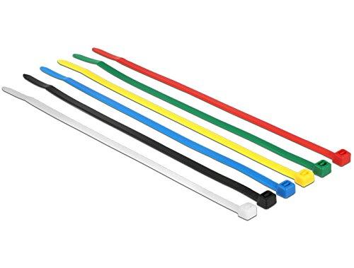 DELOCK Kabelbinder farbig 100 Stk L200 x B3,6 mm (Kabelbinder Farbige)