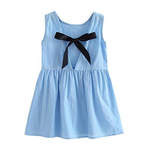Hirolan Mädchen Prinzessin Kleid Kinder Party Hochzeit Ärmellos Rock (90cm, (Kostüme Tuxedo Tshirt Blau)