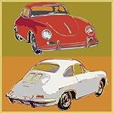 Bild mit Rahmen Rod Neer - Porsche 356 squared - Aluminium gold glänzend - 50 x 50cm - Premiumqualität - Cult, Kinder, Comic, Pop/Op Art, Pop Art - MADE IN GERMANY - ART-GALERIE-SHOPde
