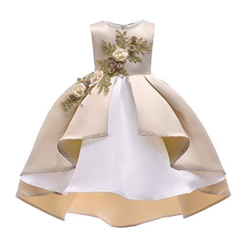 ARAUS Kinder Abendkleid Weihnachten Mädchen Kleider Prizessin Blummenmädchenkleid Ärmellos Beige 7-8 Jahre