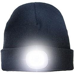 Bonnet avec lampe LED frontale rechargeable, mains libres pour la chasse, le camping, la grillade, Noir