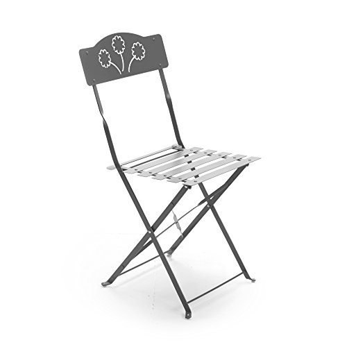 x2 Sedia pieghevole salvaspazio in ferro grigio arredamento giardino esterno 06176