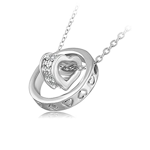 Daesar Gold Plated Necklaces Sweet Heart Circle Rhinestone Pendant Necklace for Women