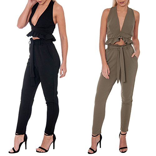 Re Tech UK Womens High Waisted Belted Paper Bag Trousers Pants Elasticated Slim Fit Pockets Cigarette Tapered Work Casual Sizes 6-14