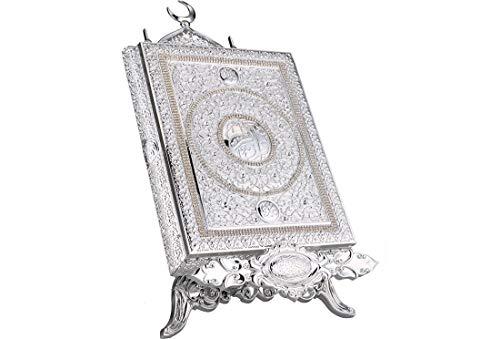 Dekonaz | Koran-Box | Inklusiv Aufsteller | Aus Metall | Silber | 22,5cm x 29cm x 5,5cm | Koran Nicht im Lieferumfang enthalten