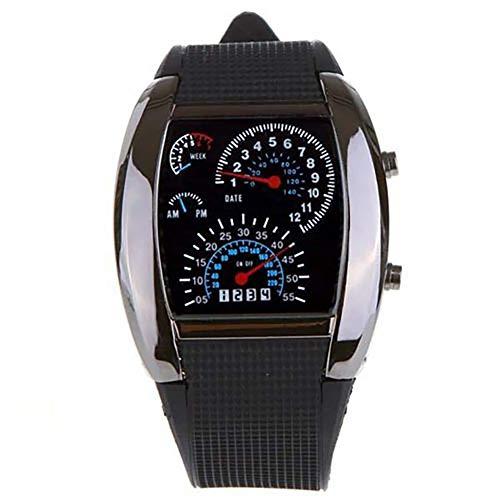 Digtal - Reloj de Pulsera para Hombre con velocímetro Digital de Goma, Reloj Deportivo para Hombre, Color Negro