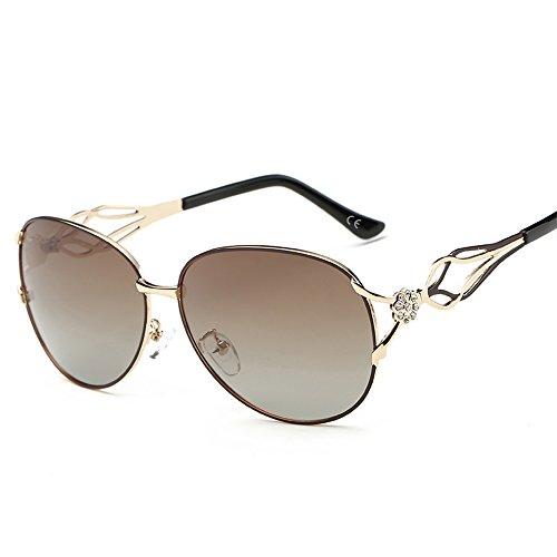 VeBrellen Damen Polarisierten Sonnenbrillen Driving Gläser Eyewear Schutzbrillen Blumen Dekoration (Braun, 62)