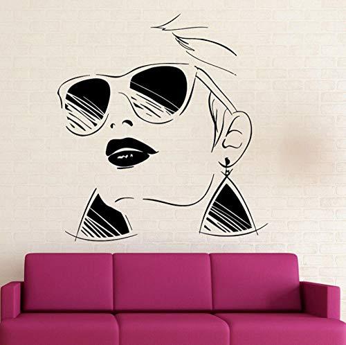 Mode stil brille mädchen vinyl applique schönheitssalon hause salon wandaufkleber mode wandbild 57 * 62 cm