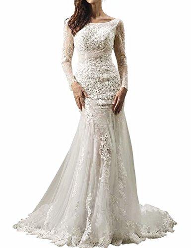NaXY Vintage Rückenfrei Hochzeitskleid Langarm Perlen Meerjungfrau Spitze Hochzeitskleider Braut-Kleider