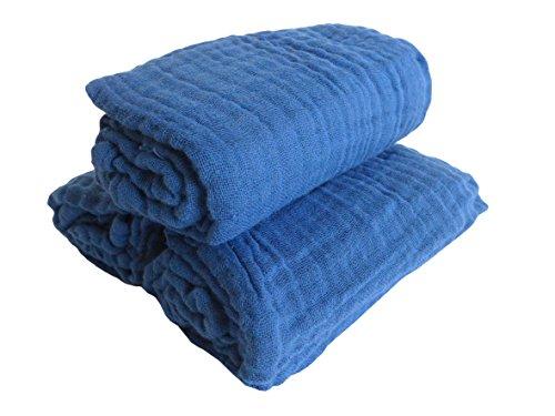 3er Pack Mullwindeln ~ blau ~ vorgewaschen Spucktuch Tücher Baby Tuch Windeln