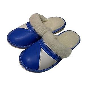 Dunkelblaue warme Leder Schafwolle Fluffy Women Pantoffeln Pantoletten Größe 36-42