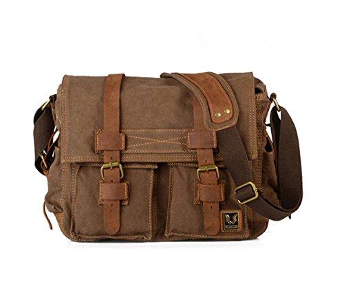 MojiDecor Vintage Umhängetasche Retro Schultertasche Messenger Tasche Aktentasche Reisetasche Handtaschen für Damen Herren aus Canvas und Leder (Dunkel Kaffe) (Leder Herren Canvas)