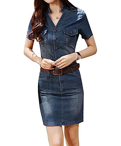 hling Herbst Damen Jeanskleid Kurzarm V-Ausschnitt Denim Minikleid Partykleid Hemdkleid Knie Bodycon Dress Blau Hellblau Cowboy EU 32-40 (Cowgirl Sexy)