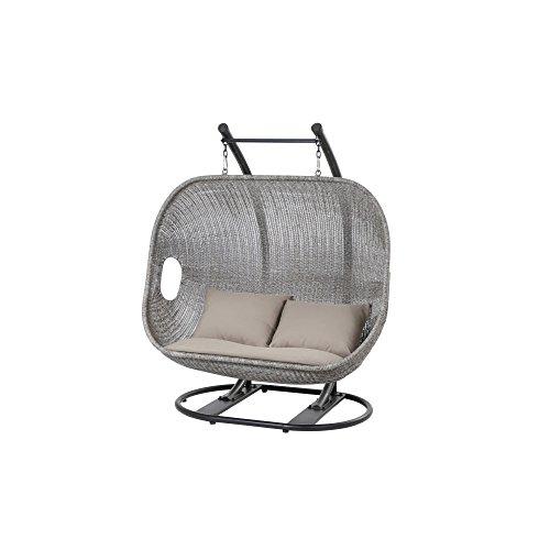 Siena Garden Hängekorb Bedfort, 122x89x183cm, Gestell: Stahl, in schwarz, Fläche: Gardino-Geflecht in washed-grey, Kissenbezug aus Polyester in taupe