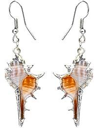 Alilang Golden Tone Metal Seashell Half Shells Ocean Inspo Design Fashion Drop Earrings