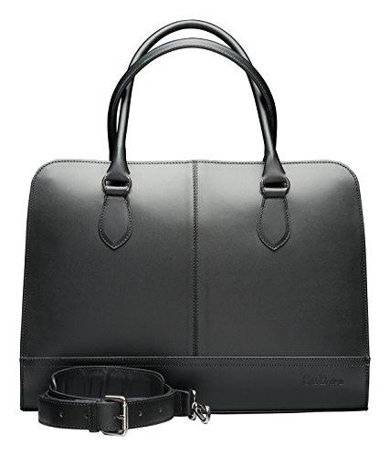 Su.B Damen bis zu 15,6 Zoll Echtleder Laptop Handtasche: Elegante Designer Laptoptasche - Umfunktionierbare Umhaengetasche mit Schultergurt - Business Aktentasche hergestellt in Italien - Schwarz (Handtasche Aktentasche)