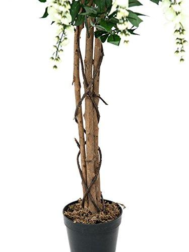 artplants – Künstlicher Goldregenbaum, 1230 Blätter, Echtstamm, weiß, 150 cm – Kunststoff Blütenbaum/Deko Blumen Baum