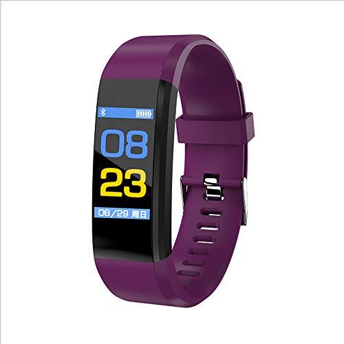 Mamun 2019 Nuevo Fitness Tracker Color Screen Heart Rate Monitor Blood Presure Smart Bracelet,Cámara remota, monitorización del sueño (Púrpura)