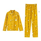Camicie da Pigiama in Cotone 100% Set da Notte Caldo e Avvolgente Simpatici Animali con Stampa Camicia da Notte Dolce Giallo homedressing (Color : Yellow, Size : XL)