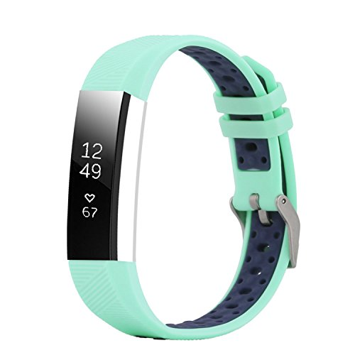 """Fit-power Fitbit Alta und Alta HR Armband, verstellbar, Ersatzsportarmband für Fitbit Alta und Alta HR Smartwatch Fitness-Armband, Teal&Navy, Free Size(5.5"""" - 8.1"""")"""