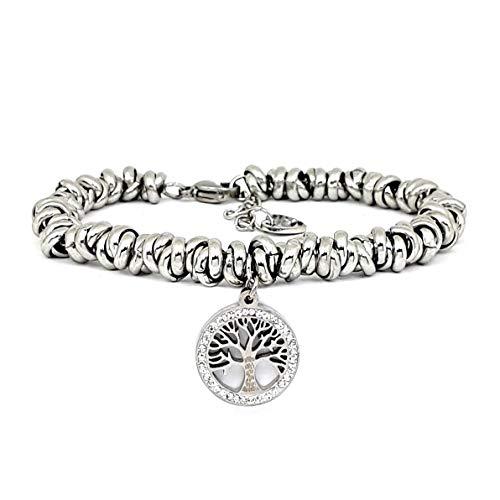 Saga gioielli bracciale donna albero della vita acciaio intrecciato