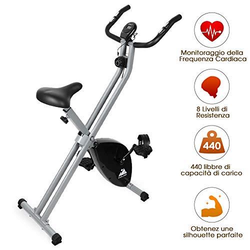 EVOLAND Bicicleta Estática Plegable, Bicicleta Estática de Fitness 8 Niveles de Resistencia Magnética con Monitor Rítmo Cardíaco para Ejercicio Entrenamiento en Casa, MAX hasta 200 kg