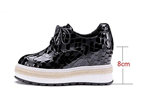 NobS Cuoio Pietra Floreale Mules Wedge Heels Aumento Donne Casuali Penny Fannulloni Pattini Stringate Black