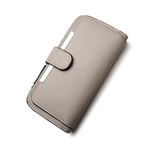 Woolala Donna Portafoglio Grandi Capacità Slot Multi Slot Con Zip Pocket Frizione Lunga Borsa Per Shopping Travel, Nero Gray