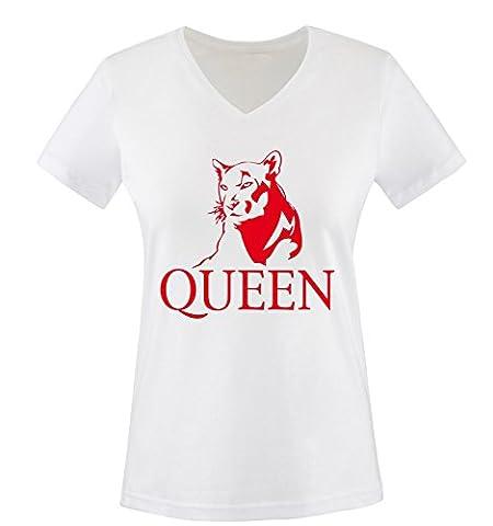 Comedy Shirts - LION - QUEEN - Damen V-Neck T-Shirt - Weiss / Rot Gr. M