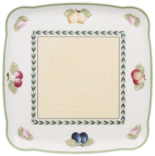 Villeroy & Boch Charm&Breakfast French Garden Platte quadratisch, Premium Porzellan, 30cm -