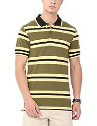Urban Nomad Dark Olive Men's Striped T-Shirt