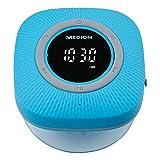 MEDION P66096 Duschradio mit Bluetooth (Badradio, UKW Radio, Saugnapf, LED-Display, IPX6 Wasserdicht, integrierter Akku) blau -
