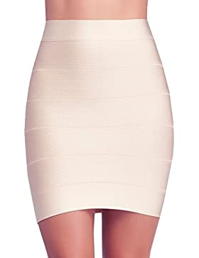 HLBandage Women's Ribbed Panel Stretch Mini Bandage Skirt