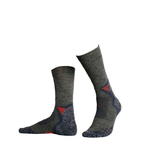 #Hellerman – 2 Paar Bequeme Wandersocken / Trekkingsocken aus Merinowolle, atmungsaktive Funktionssocken mit Klimaausgleich für Damen und Herren (43-46, Anthrazit)#