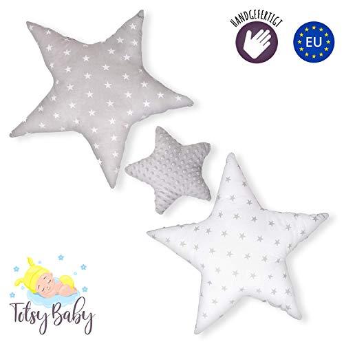 cuscini decorativi bambini - cuscino a forma di stella ragazza ragazzo stanza dei bambini scuro grigio/bianco ø 30cm et 2 x ø 60cm