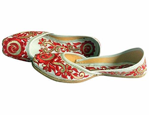 N Step, dicono le donne s Phulkari Punjabi Jutti Khussa Shoes-Scarpe da donna a forma di scarpe da Ballerina classica, motivo: etnico Multicolore (Rosso/Bianco)