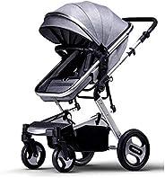 عربة أطفال لحديثي الولادة 2 في 1 قابلة للطي - فضي/ رمادي