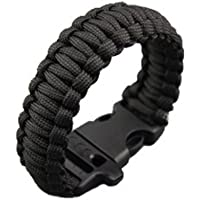 NEOU - Pulsera de Cuerda Negra para Militar táctico de Supervivencia King Cobra sólido Instrumento