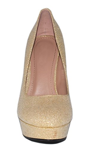 Elara Plateaupumps | Damen Glitzer Stiletto High Heels | Party Pumps Champagne