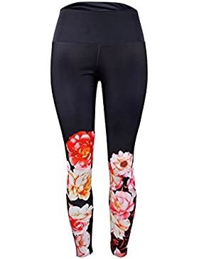 Smalltile Mujer Pantalones Deportivos Delgado Secado Rápido Respirable Trotar Aptitud Leggings Fashion Impresión...