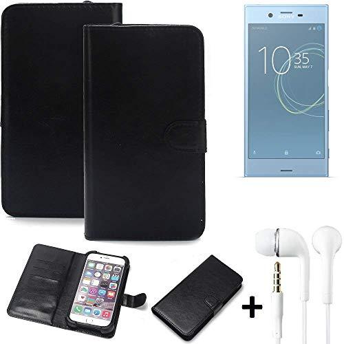 K-S-Trade Wallet Case Handyhülle Sony Xperia XZs Dual SIM Schutz Hülle Smartphone Flip Cover Flipstyle Tasche Schutzhülle Flipcover Slim Bumper schwarz, 1x Ear Headphones