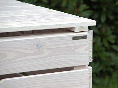 2er Mülltonnenbox / Mülltonnenverkleidung 240 L Holz, Transparent Geölt Weiß - 2