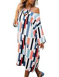 Asvivid Womens Casual Striped Bat Sleeve Off Shoulder Loose Beach Midi Dress Size 8-22