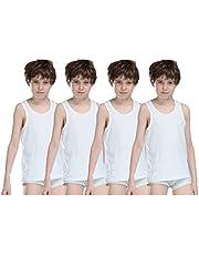 Dollar Kids Junior Regular Fit White Cotton Vest (Combo of 4)