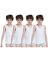 Dollar Kids Junior Cotton Vest for 6-8 Years (White, Pack of 4, 65 cm)