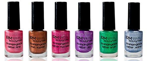 Stampinglack Glitter und Metallic Set 6x4ml Pink, Fuchsia, Lila, Jeans Blau, Grün, Kupfer Stamping Lack Nagellack Nail Polish RM Beautynails