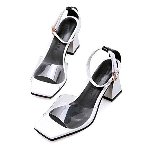 Beauqueen Pumps CASUAL PARTY SANDALS Sommer Mädchen Frauen Transparente Obere Knöchelriemen Low Heel Einfache Comfortbale Schuhe Europa Standard Größe 34-39 White