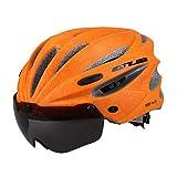 MRKE MTB Helm Einstellbar BMX Helm mit Magnetischen Schutzbrillen für Herren Damen für Kopfumfang 58-62CM (Orange)
