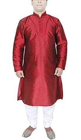 Mens Kurta Pyjama Red Silk Sherwani Style Indian Wedding Dress Party Wear -L